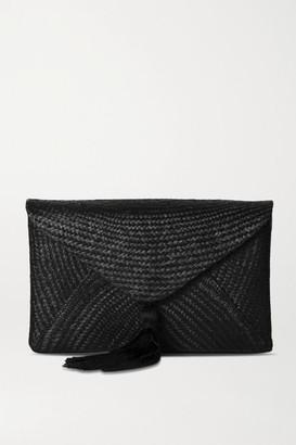 Kayu Cassia Woven Straw Clutch - Black