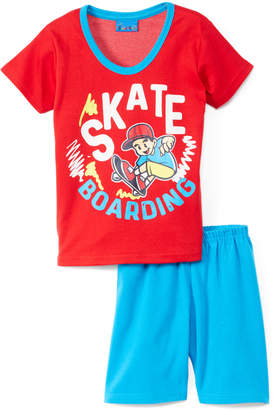 Sweet & Soft Boys' Casual Shorts Red - Red & Turquoise 'Skateboarding' Tee & Shorts - Infant