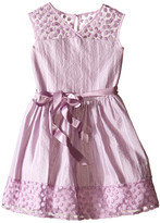Us Angels Novelty Jacquard Drop Shoulder Illusion Dress w/ Belt & Full Skirt (Big Kids)