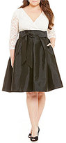Adrianna Papell Plus Lace-Bodice Taffeta A-Line Dress
