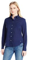 Dockers Women's Petite Perfect-Pattern Relaxed-Fit Long-Sleeve Shirt