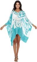 Thumbnail for your product : Shu Shi SHU-SHI Womens Short Beach Swimsuit Cover Up Loose Caftan Poncho Beach Tunic Dress Butterfly - green - One Size