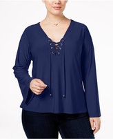 NY Collection Plus Size Lace-Up-Front Top