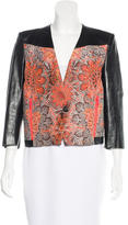 Helmut Lang Abstract Pattern Leather-Trimmed Jacket w/ Tags