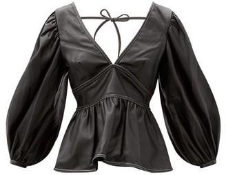 STAUD Luna V-neck Peplum Faux-leather Top - Black