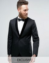 Religion Skinny Suit Jacket With Velvet Lapel