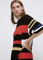 Proenza Schouler black / orange / electric blue oversized short sleeve crewneck sweater
