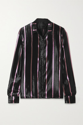 RtA Blythe Striped Metallic Silk-blend Lame Shirt - Black