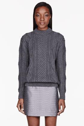 Marc Jacobs Grey Cableknit Mock Turtleneck Sweater