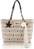 Betsey Johnson Star Stud Hanging Tassel Tote Shoulder Handbag - Sand