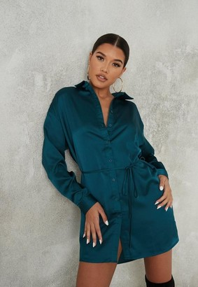 Missguided Teal Satin Oversized Self Tie Shirt Dress