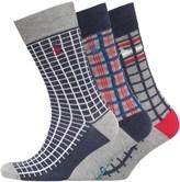 Original Penguin Mens Three Pack Socks Vintage Indigo/Grey/Chinese Red