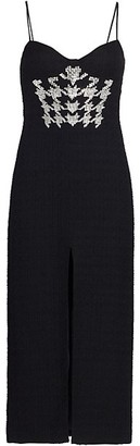 David Koma Crystal Houndstooth Stretch-Wool Midi Dress