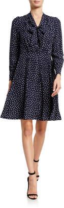 Rebecca Taylor Long-Sleeve Blurred Heart Printed Silk Dress