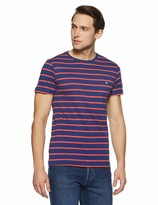 Private Label Something for Everyone Blue Men's Casual Crew Neck Single Jersey with Pink Striper Regular Fit T-Shirt Large