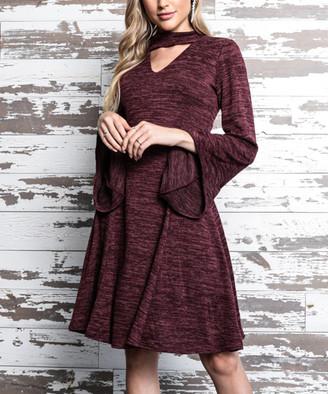Milly Penzance Women's Sweater Dresses burgundy - Burgundy Choker-Cutout A-Line Dress - Women & Plus