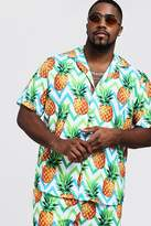 BoohooMAN Big & Tall Pineapple Print Revere Collar Shirt