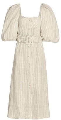 Johanna Ortiz Tropical Summer Linen Belted Midi Dress