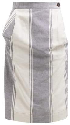Vivienne Westwood Striped Cotton-blend Pencil Skirt - Womens - Blue Multi