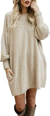 Huhu833(Tm) HUHU833 Fashion Women Solid Long Sleeve O-Neck Pocket Long Sweater Casual Loose Pullover Tops (Black XL=UK 24)
