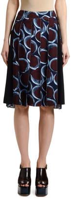Marni Pleated Circle-Print Skirt