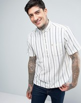 Farah Blythe Overhead Stripe Shirt Short Sleeve Casual Regular Fit in Blue