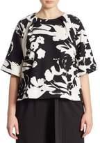 Joan Vass Plus Floral-Print Blouse
