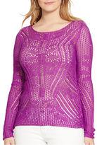 Lauren Ralph Lauren Plus Pointelle-Knit Cotton-Blend Sweater