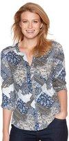 M&Co Petite tile crochet trim shirt