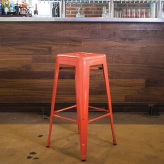 """Ebern Designs Herbst Accent Stool Ebern Designs Color: Orange, Seat Height: Short Stool (17"""" Seat Height)"""