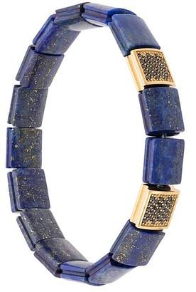 Lapis Nialaya Jewelry CZ lazuli flat bead bracelet