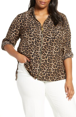 MICHAEL Michael Kors Animal Print Zip Front Top