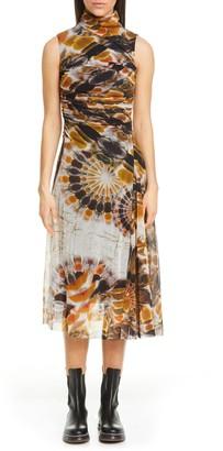 Fuzzi Print Mock Neck Sleeveless Mesh Dress