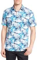 Bugatchi Shaped Fit Ocean Print Sport Shirt