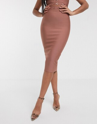 The Girlcode bandage pencil skirt with ring detail coord in rose tan