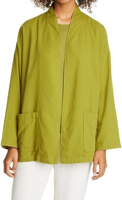 Eileen Fisher High Collar Organic Cotton Blend Jacket