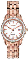 Citizen Ladies Silhouette Crystal Eco-Drive Swarovski Crystal Rose Goldtone Bracelet Watch