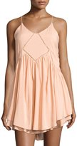 Romeo & Juliet Couture Babydoll Dress with Crochet Detail, Peach