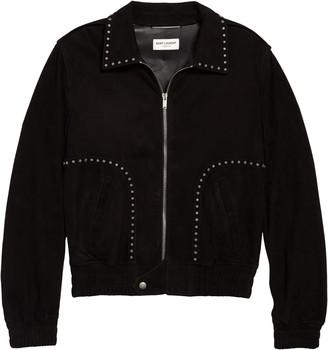 Saint Laurent Studded Leather Bomber Jacket