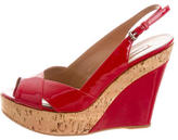 Alaia Patent Leather Slingback Wedges