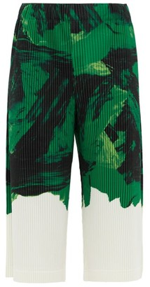 Homme Plissé Issey Miyake Action Painting-print Pleated Cropped Trousers - Mens - Black Green
