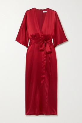Reformation Hedi Wrap-effect Silk-satin Midi Dress