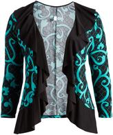 Glam Black & Green Long-Sleeve Ruffle Open Cardigan - Plus