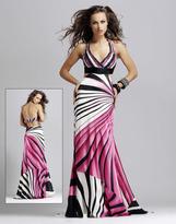 Blush Lingerie 9030 Stripe Halter Sheath Dress