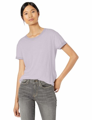 Goodthreads Washed Jersey Cotton Roll-Sleeve Open Crewneck T-Shirt Lavender XS