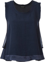 Twin-Set frilled sleeve top - women - Linen/Flax/Acetate/Viscose - 40