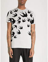 McQ Swallow-flocked cotton-jersey T-shirt
