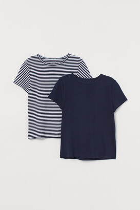 H&M 2-pack Ribbed Tops - Blue
