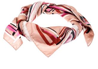 Jimmy Choo Pink Beige Mix Shoes Printed Silk Scarf