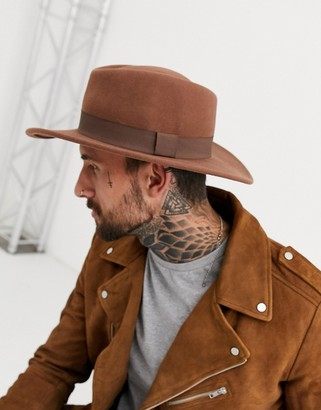 ASOS DESIGN wide brim pork pie hat in camel with band
